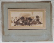 Orientalist Dog Hitch Childs Ink Wash Painting A G DECAMPS 1803-1860