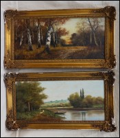 Barbizon School Pair Landscape Riverscape LIONEL Oil on Canvas 19th C