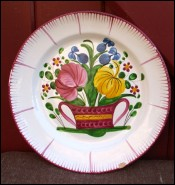 Bunch Flowers Decorative Plate Faience St Clement 19th C
