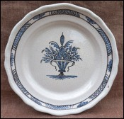 Blue & White Culinary Faience Rouen Manganese Glazed 19th C