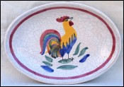 Nevers Rooster Faience Small Oval Dish Tidy A Lyons 19th C