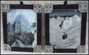 Pair Photo Climbing Cable Car Chamonix Mont Blanc
