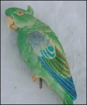 Parakeet Okimono Hand Carved Ink Painted Ivory Tenzan Meiji Period
