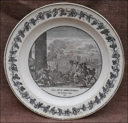 French Ludi Apollinares Roma Cabinet Wall Grisaille Plate Creil Paris