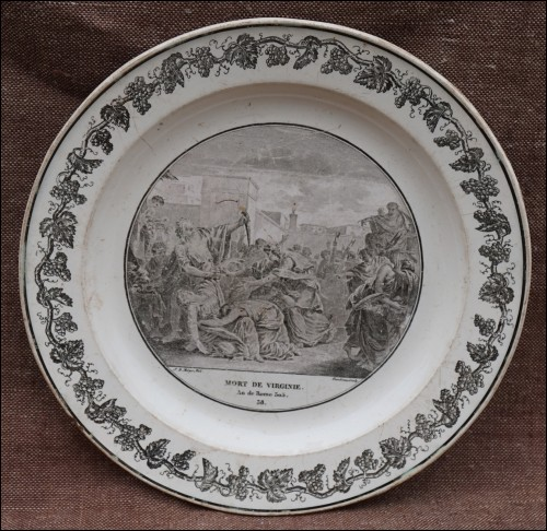 Dead of Virginia Roma Cabinet Wall Grisaille Plate Creil Paris