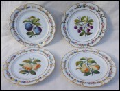 Old Paris Gilt Hand Painted Porcelain 4 Dessert Plates Fruits Mono HM 19th C