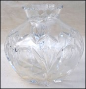 Val St Lambert Clear Cut Crystal Bowl Vase 1950's