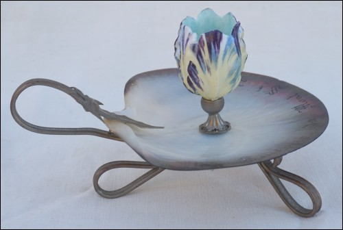 Mont St Michel Mother of Pearl Porcelain Guilloche Brass Candle Holder Souvenir 1900