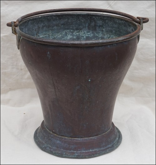 Indian Copper Dhal Curry Serving Bucket Tinned Copper 19th C
