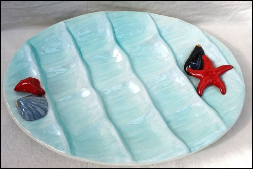 Vallauris Oyster Platter Server Dish Starfish Shell Faience