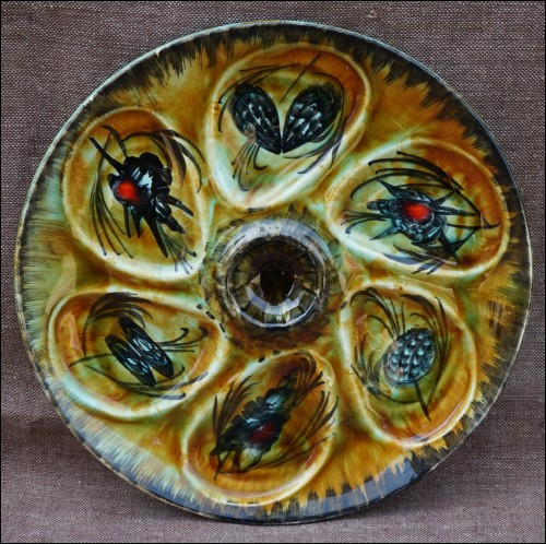 Quimper Oyster Plate Bastian Le Pemp Hand Painted Faience