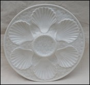 Oyster Plate Faience White Basketweave Longchamp 1970