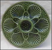 Oyster Plate Faience Green Basketweave Longchamp 1970