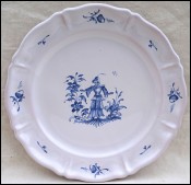 Moustiers Blue & White Faience Lady Flowers Stefani Mint
