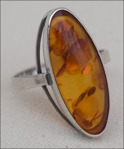 Baltic Amber Honey Cognac German Sterling Silver Oval Ring 4 grams