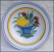 Faience Decorative Plate Basket of Flowers Nevers 19th C