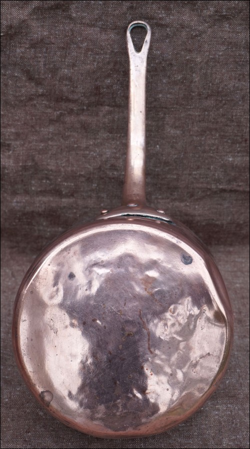 Antique Tined Copper Sauce Pan Brass Handle 1900 Normandy
