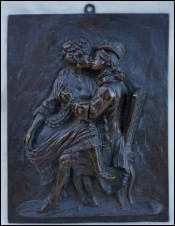 Erotic Bronze Plaque Soldier Soubrette 18th C
