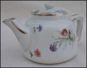 Aluminite Frugier Limoges Porcelain France Gilt Flowers Tea Pot