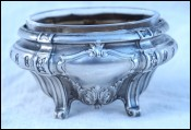 Open Salt Cellar Sterling Silver Cut Crystal Glass  18gr