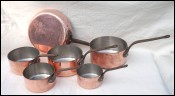 Stainless Steel Lined Copper Set 5 Sauce Pans 1 Skillet