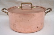 Stainless Steel Lined Copper Lidded Stew Pan Cocotte Roaster Pot