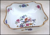 LIMOGES UC Porcelain Salad Fruit Square Bowl Bird Paradise Gilt