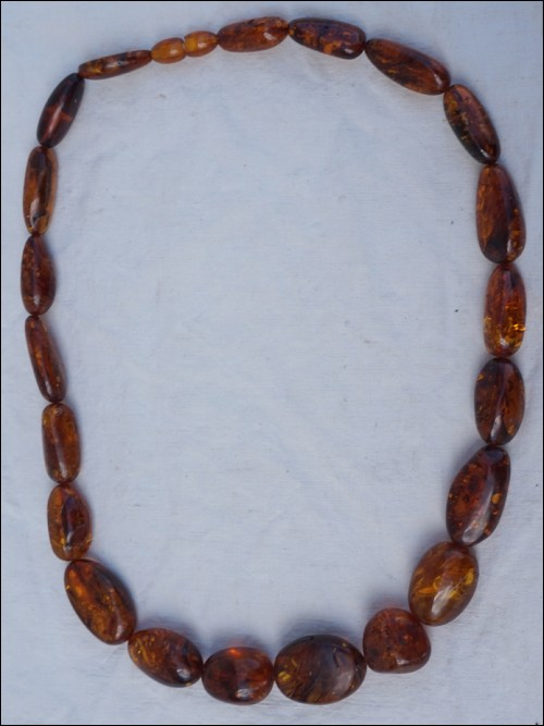 Natural Baltic Amber Cognac Cherry Necklace Oval Beads 90gr