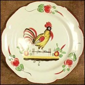 Rooster Decorative Plate Luneville no Quimper