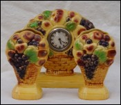 Art Deco Majolica Mantle Clock Set Garniture Vase ESDEVE Sarreguemines