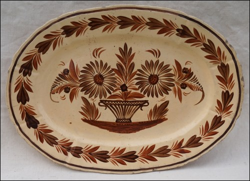 HB QUIMPER Large Flowered Brown Cream Oval Dish 1930