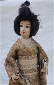 Japanese Geisha Doll Silk Gold Silver Metallic Thread Kimono