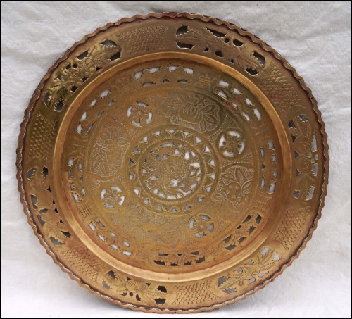 Chinese Engraved Brass Tray Horse Dragon Bats Early 20th C
