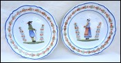 HENRIOT QUIMPER Couple of Bretons Pair Decorative Plate