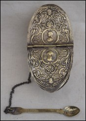 Incense Boat with Spoon Brass Repousse 17th Century