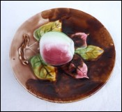Trompe Oeil Plate Apple Majolica Orchies 1900