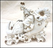 Young Lady Swan Sledge Vase Gilt White Bisque Porcelain 19th C