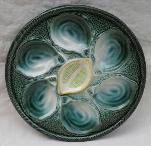 Oyster Plate Faience Shell Lemon St Clement 1960
