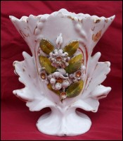 Wedding Vase Gilt Hand Painted Porcelain Flowers Pouyat Fours 19th C