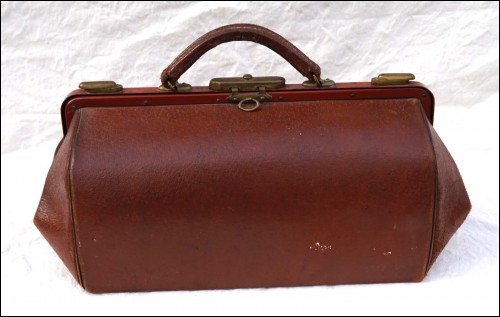 French Leather Doctor Bag Brass Hardware Feet