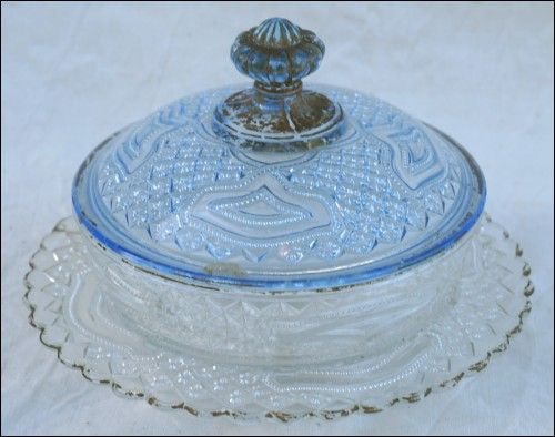 Blue Clear Pressed Glass Lidded Butter Dish 1900