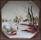 Porcelain Snowy Landscape Square Decorative Plate 1920