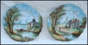 Riverscape Hand Painted Porcelain Pair of Plates Barbizon 19th C