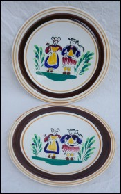Pair Decorative Plates Bretons MBFA Pornic near Quimper 1970