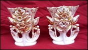 Pair Wedding Vases Gilt Porcelain Flowers Pouyat Fours 19th C
