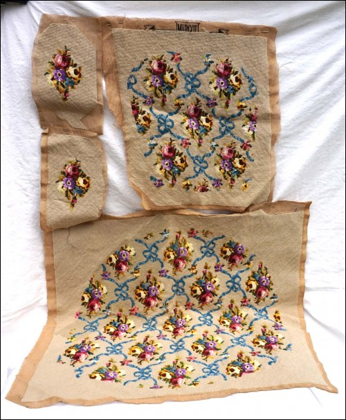 French Finished Needlepoint Tapestry Armchair Flower Ribbon