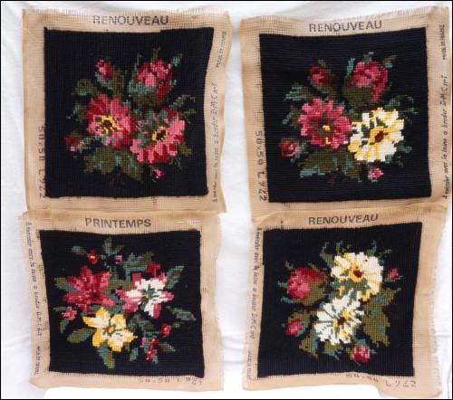 Set 4 Wool Tapestry Needlepoint Flowers Cover Pillows