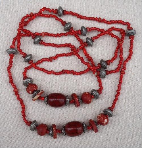 Red Sea Coral Silver Bead Necklace 23