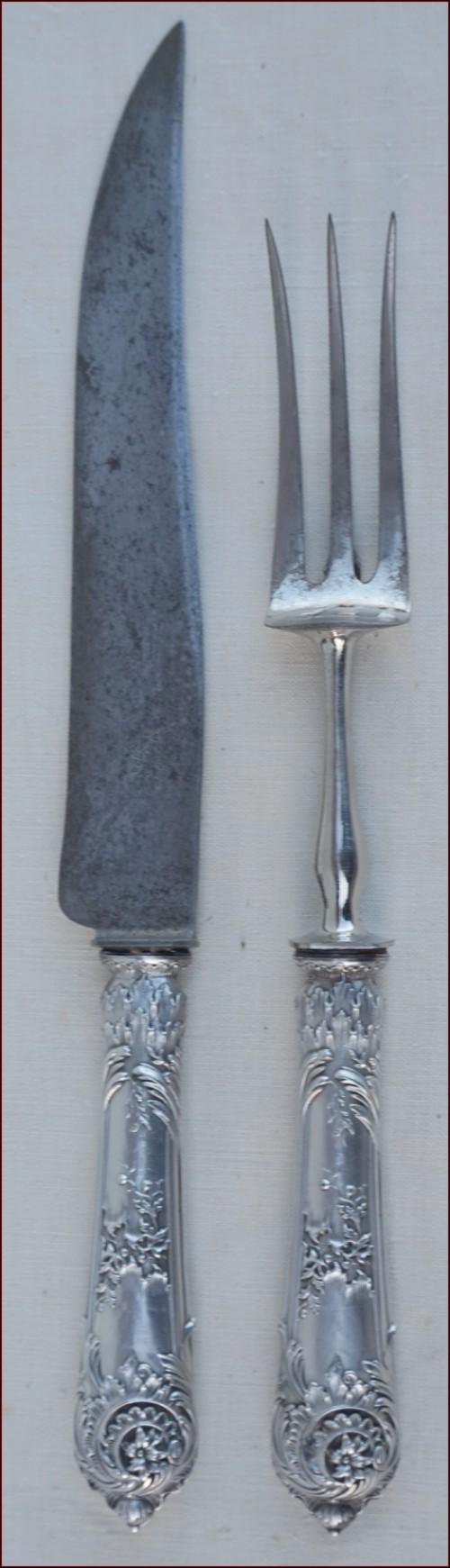 Sterling Silver Carving Serving Set Rocaille Style Knife Fork Paris