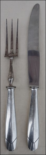 Silverplate Carving Serving Set Meat Knife & Fork Paris 1930